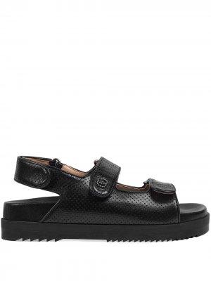 Сандалии на липучках с логотипом Double G Gucci. Цвет: черный