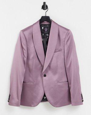 Розовато-лиловый атласный пиджак с широкими лацканами наклонной формы -Фиолетовый цвет Twisted Tailor