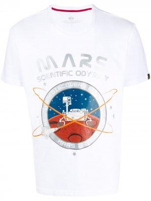 Футболка с принтом Mars Alpha Industries. Цвет: белый