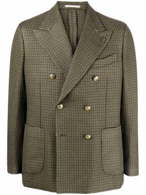 Шерстяной двубортный пиджак в клетку Gabriele Pasini. Цвет: зеленый