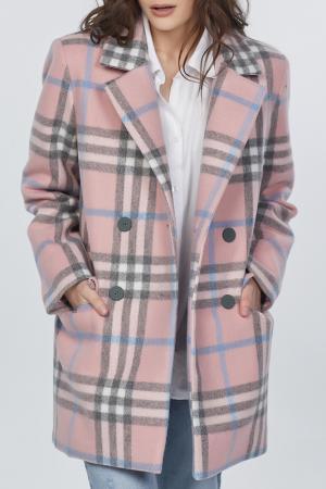Пальто Fly. Цвет: розовый, клетка