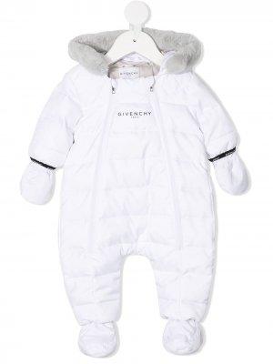Ромпер с капюшоном и логотипом Givenchy Kids. Цвет: белый