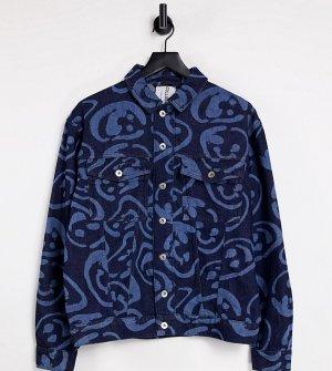 Джинсовая куртка с лазерным принтом от комплекта COLLUSION Unisex-Голубой