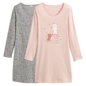 Комплект из 2 больших футболок La Redoute. Цвет: розовый