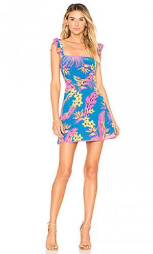 Мини платье с расклёшенными рукавами lunita ale by alessandra. Цвет: синий