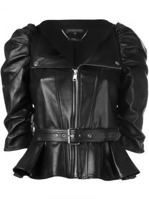 Кожаная куртка с присборенными рукавами Alexander McQueen. Цвет: чёрный
