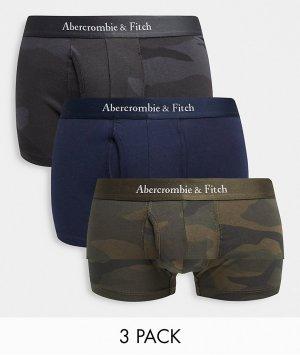 Набор из 3 боксеров-брифов черного и черного/оливкового цвета с камуфляжным принтом логотипом на поясе -Многоцветный Abercrombie & Fitch