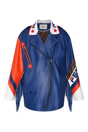 Кожаная куртка с контрастной отделкой Fendi. Цвет: multicolor