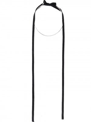 Колье-кольцо с лентой Ann Demeulemeester. Цвет: серебристый