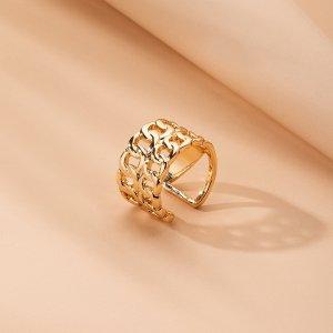 Кольцо в форме цепочки SHEIN. Цвет: золотистый