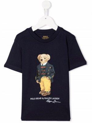 Short sleeve teddy bear t-shirt Ralph Lauren Kids. Цвет: синий