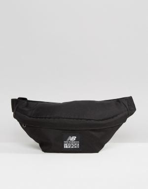 Черная сумка-кошелек на пояс New Balance. Цвет: черный