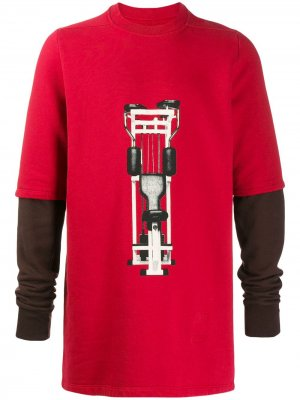 Удлиненная толстовка с принтом Rick Owens DRKSHDW. Цвет: красный
