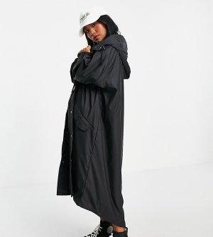 Черный прорезиненный дождевик миди ASOS DESIGN Petite-Черный цвет Petite