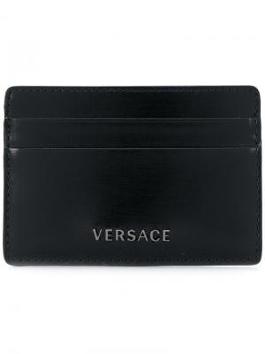 Визитница с логотипом Versace. Цвет: черный