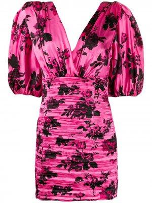 Платье со сборками и цветочным принтом Laneus. Цвет: розовый