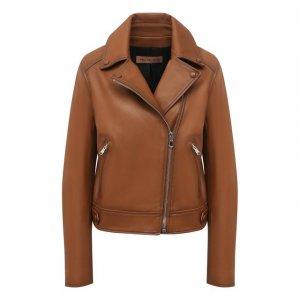 Кожаная куртка Yves Salomon. Цвет: коричневый