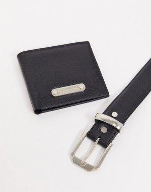 Подарочный набор: ремень и бумажник из натуральной кожи Miller-Черный Bolongaro Trevor