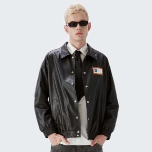 Мужская кожаная куртка на пуговицах SHEIN. Цвет: чёрный
