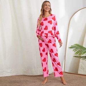 Для беременных Пижама с принтом сердечка оборкой SHEIN. Цвет: многоцветный