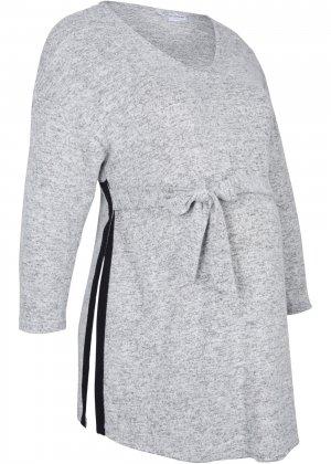 Пуловер для беременных с разрезами bonprix. Цвет: серый