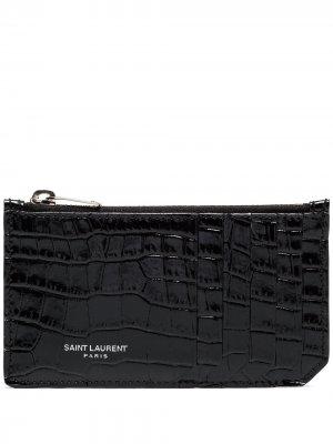 Картхолдер с тиснением под кожу крокодила Saint Laurent. Цвет: черный