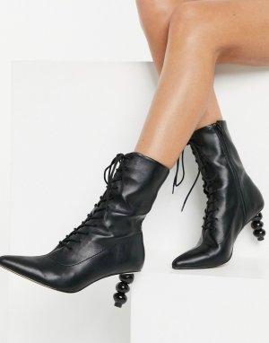 Ботильоны на шнуровке с фигурным каблуком Reward-Черный ASOS DESIGN
