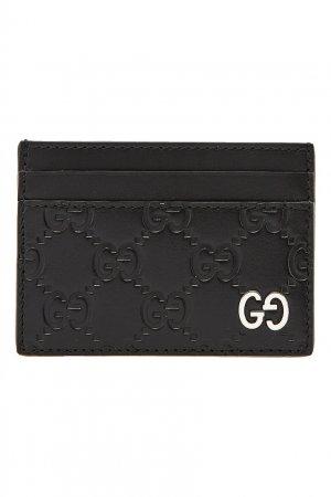 Черный кожаный футляр для карт с монограммами GG Gucci. Цвет: черный