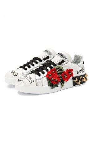 Кожаные кеды Portofino Dolce & Gabbana. Цвет: белый