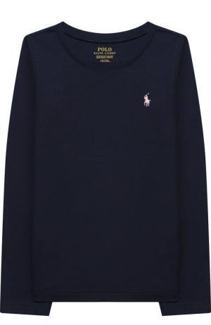 Однотонный лонгслив с логотипом бренда Polo Ralph Lauren. Цвет: синий