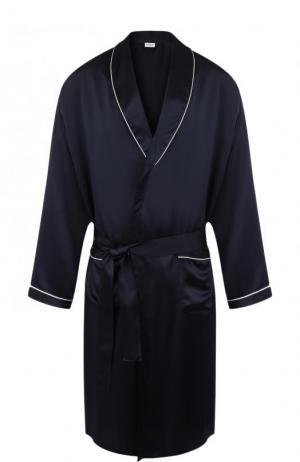 Шелковый халат Zimmerli. Цвет: синий