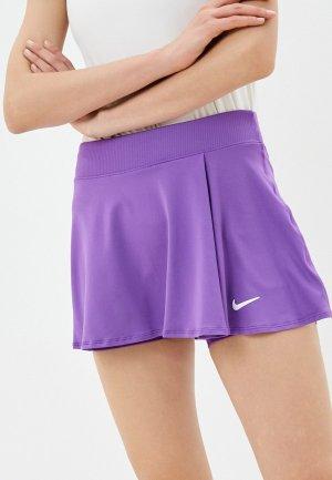 Юбка-шорты Nike W NKCT DF VCTRY FLOUNCY SKIRT. Цвет: фиолетовый