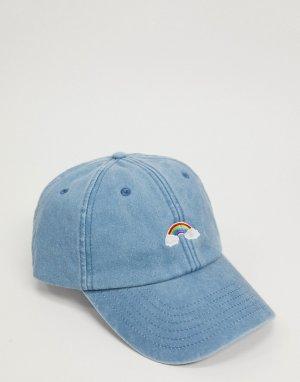 Джинсовая бейсболка с вышитой радугой -Синий Daisy Street