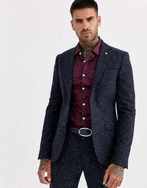 Темно-синий приталенный твидовый пиджак в крапинку Avail London