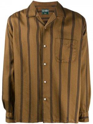 Атласная рубашка Regimental в полоску Gitman Vintage. Цвет: коричневый