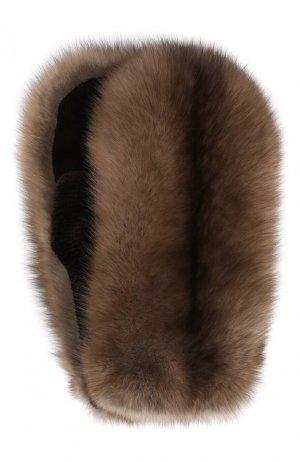 Варежки из меха норки и соболя Kussenkovv. Цвет: коричневый