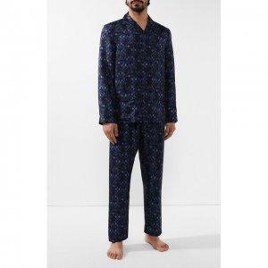 Шелковая пижама Ermenegildo Zegna. Цвет: синий