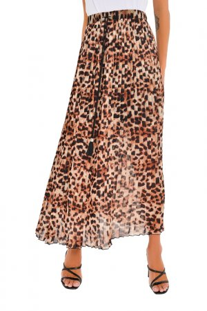 Юбка MONDIGO. Цвет: леопард, коричневый