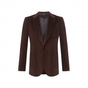 Хлопковый пиджак Dolce & Gabbana. Цвет: коричневый