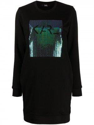 Платье-свитер с логотипом из пайеток Karl Lagerfeld. Цвет: черный
