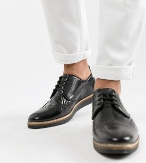 Черные кожаные броги на танкетке -Черный цвет ASOS DESIGN