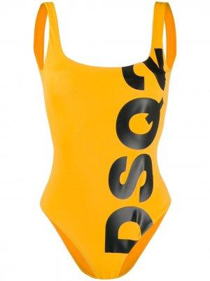 Купальник с логотипом Dsquared2. Цвет: желтый