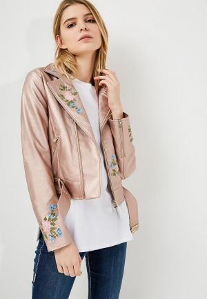 Куртка кожаная Twin-Set Simona Barbieri. Цвет: розовый