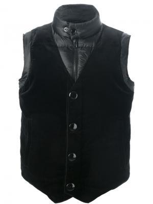Дутый жилет с бархатной панелью Givenchy. Цвет: чёрный