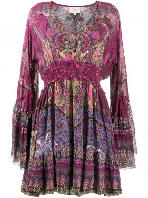 Платье с принтом и расклешенными рукавами Camilla