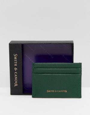 Зеленая кожаная кредитница Smith And Canova. Цвет: зеленый