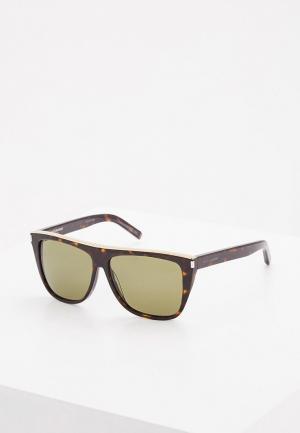 Очки солнцезащитные Saint Laurent SA042DMZHN29. Цвет: коричневый