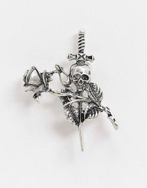 Серебристая брошь с розой и черепом -Серебряный ASOS DESIGN