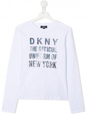 Топ с длинными рукавами и логотипом Dkny Kids. Цвет: белый