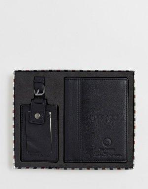 Кожаная обложка для паспорта и багажная бирка Ben Sherman. Цвет: черный